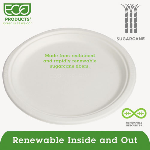 "Renewable & Compostable Sugarcane Plates - 10"", 500/CT. Picture 2"