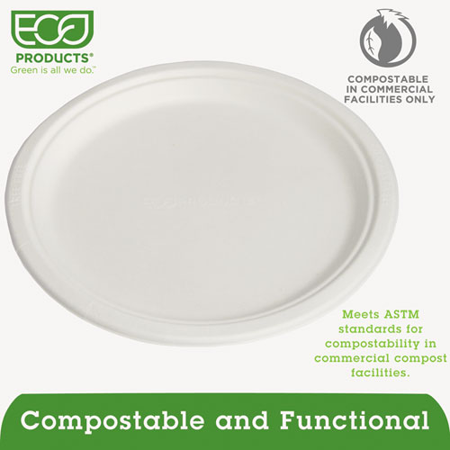 "Renewable & Compostable Sugarcane Plates - 10"", 500/CT. Picture 3"