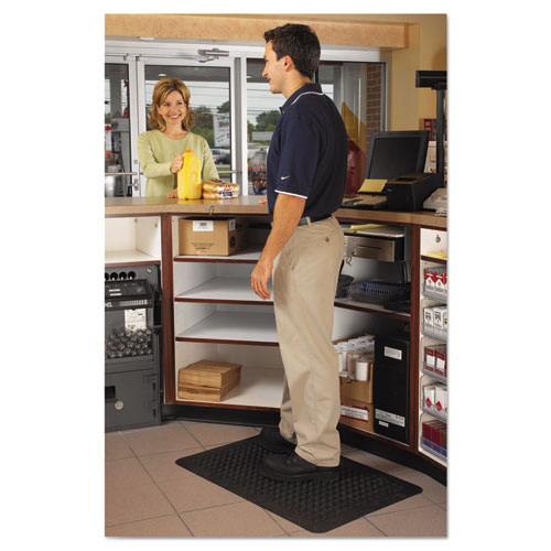 Flex Step Rubber Anti-Fatigue Mat, Polypropylene, 36 x 60, Black. Picture 5