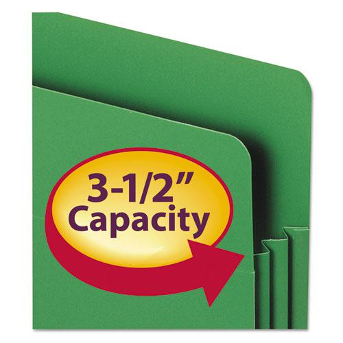 """Poly Drop Front File Pockets, 3.5"""" Expansion, 4 Sections, Letter Size, Assorted, 4/Box. Picture 3"""