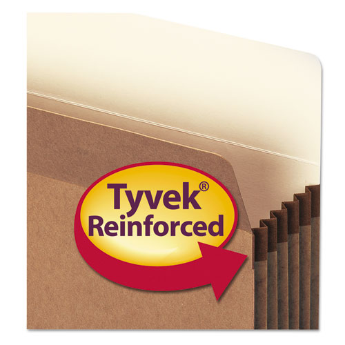 """100% Recycled Top Tab File Pockets, 5.25"""" Expansion, Letter Size, Redrope, 10/Box. Picture 2"""