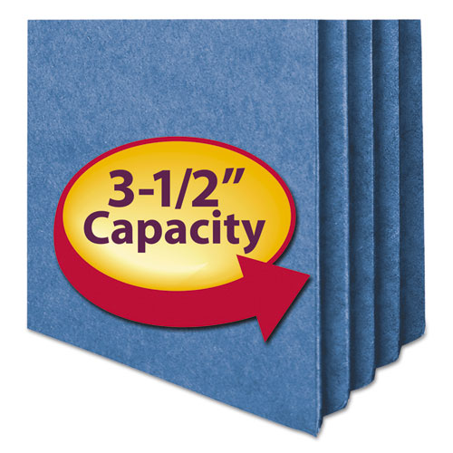 "Colored File Pockets, 3.5"" Expansion, Letter Size, Blue. Picture 3"