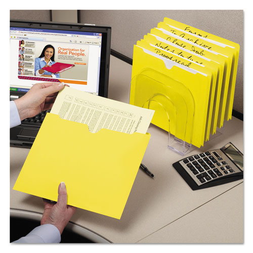 Colored File Jackets with Reinforced Double-Ply Tab, Straight Tab, Letter Size, Yellow, 100/Box. Picture 2