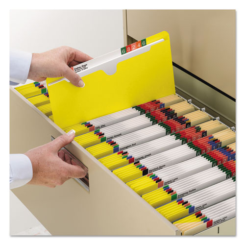 Colored File Jackets with Reinforced Double-Ply Tab, Straight Tab, Letter Size, Yellow, 100/Box. Picture 3
