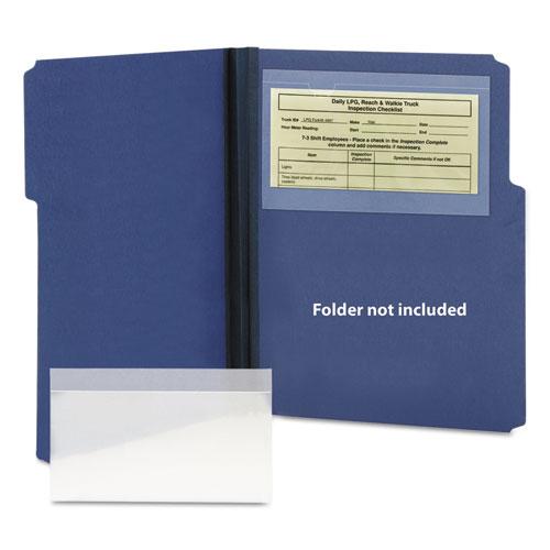 Self-Adhesive Poly Pockets, Top Load, 9 x 5-9/16, Clear, 100/Box