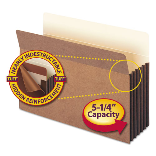 """Redrope TUFF Pocket Drop-Front File Pockets w/ Fully Lined Gussets, 5.25"""" Expansion, Legal Size, Redrope, 10/Box. Picture 1"""
