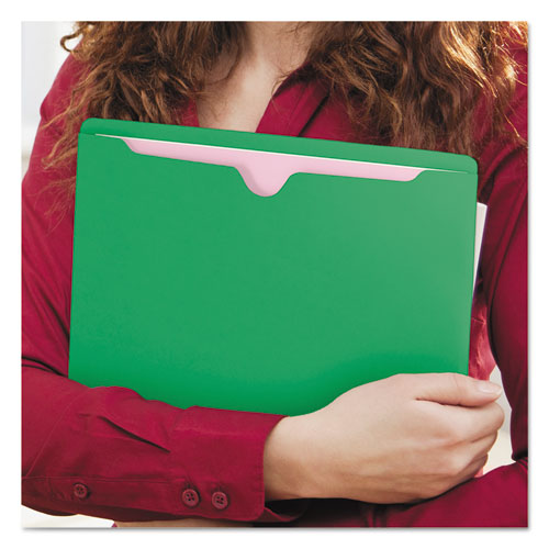 Colored File Jackets with Reinforced Double-Ply Tab, Straight Tab, Letter Size, Green, 100/Box. Picture 7