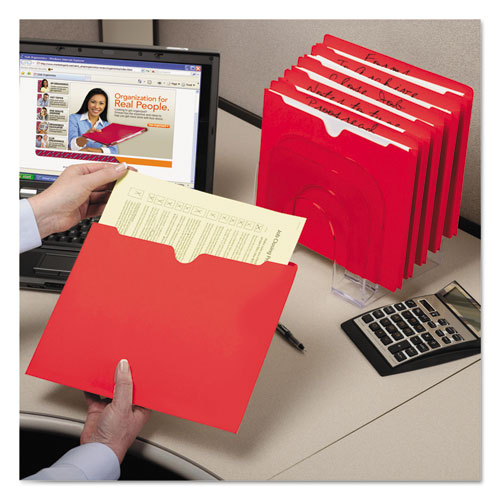 Colored File Jackets with Reinforced Double-Ply Tab, Straight Tab, Letter Size, Red, 100/Box. Picture 7
