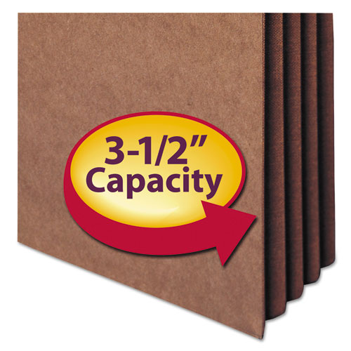 "Redrope TUFF Pocket Drop-Front File Pockets w/ Fully Lined Gussets, 3.5"" Expansion, Legal Size, Redrope, 10/Box"