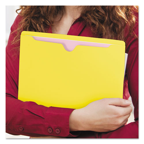 Colored File Jackets with Reinforced Double-Ply Tab, Straight Tab, Letter Size, Yellow, 100/Box. Picture 4