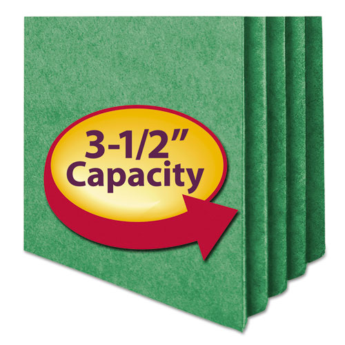 """Colored File Pockets, 3.5"""" Expansion, Letter Size, Green. Picture 3"""