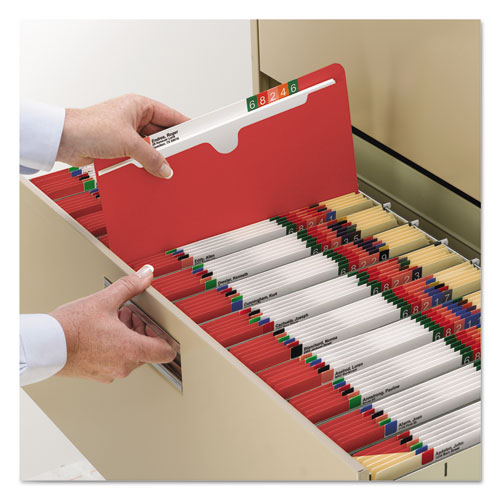 Colored File Jackets with Reinforced Double-Ply Tab, Straight Tab, Letter Size, Red, 100/Box. Picture 6