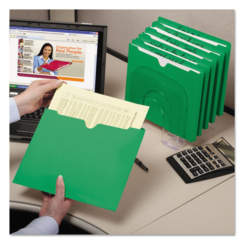 Colored File Jackets with Reinforced Double-Ply Tab, Straight Tab, Letter Size, Green, 100/Box. Picture 6