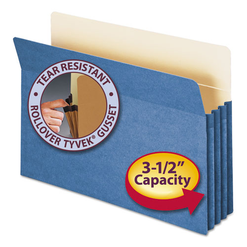 """Colored File Pockets, 3.5"""" Expansion, Legal Size, Blue. Picture 1"""