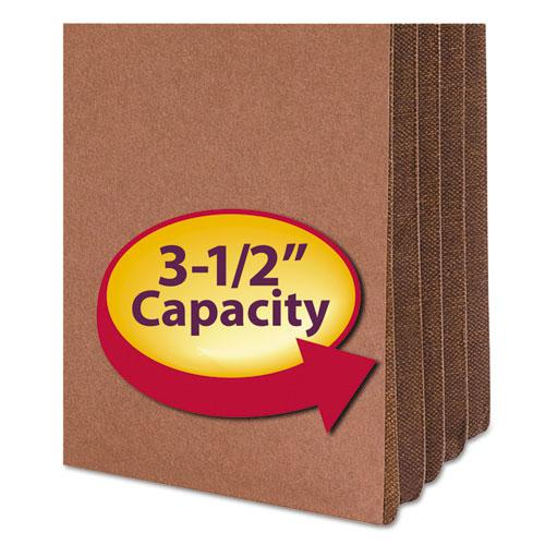 """Redrope Drop-Front File Pockets w/ Fully Lined Gussets, 3.5"""" Expansion, Legal Size, Redrope, 10/Box. Picture 4"""