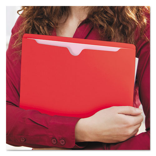 Colored File Jackets with Reinforced Double-Ply Tab, Straight Tab, Letter Size, Red, 100/Box. Picture 8