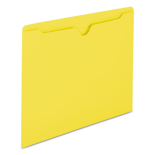 Colored File Jackets with Reinforced Double-Ply Tab, Straight Tab, Letter Size, Yellow, 100/Box. Picture 5