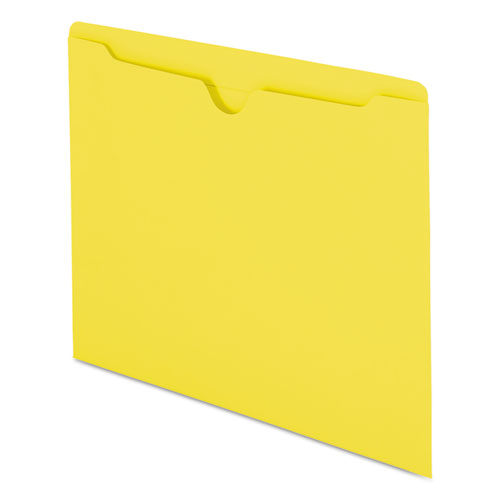 Colored File Jackets with Reinforced Double-Ply Tab, Straight Tab, Letter Size, Yellow, 100/Box. Picture 6