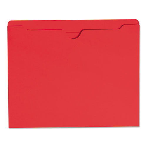Colored File Jackets with Reinforced Double-Ply Tab, Straight Tab, Letter Size, Red, 100/Box. Picture 5