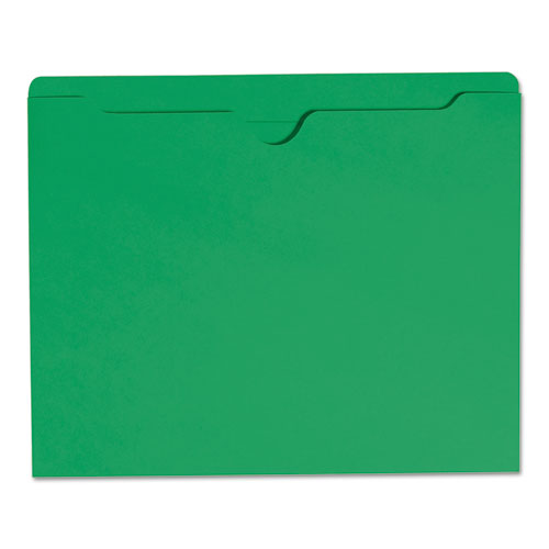 Colored File Jackets with Reinforced Double-Ply Tab, Straight Tab, Letter Size, Green, 100/Box. Picture 4