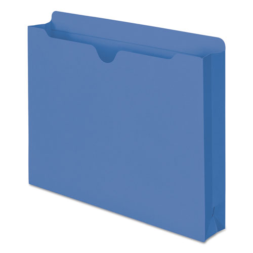 Colored File Jackets with Reinforced Double-Ply Tab, Straight Tab, Letter Size, Blue, 50/Box