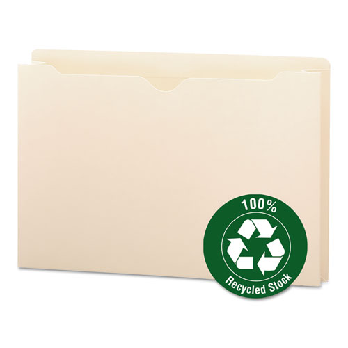 100% Recycled Top Tab File Jackets, Straight Tab, Legal Size, Manila, 50/Box. Picture 1