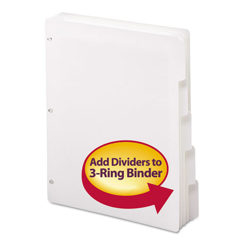 Three-Ring Binder Index Divider, 5-Tab, 11 x 8.5, White, 1 Set. Picture 1