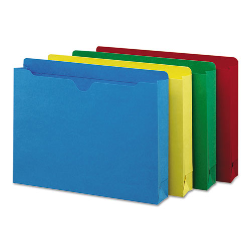 Colored File Jackets with Reinforced Double-Ply Tab, Straight Tab, Letter Size, Assorted Colors, 50/Box. Picture 1