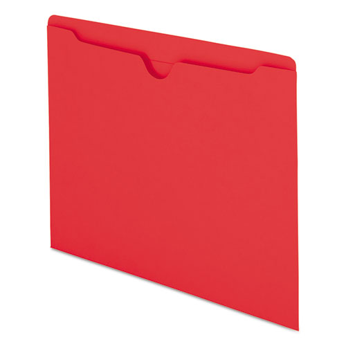 Colored File Jackets with Reinforced Double-Ply Tab, Straight Tab, Letter Size, Red, 100/Box. Picture 2