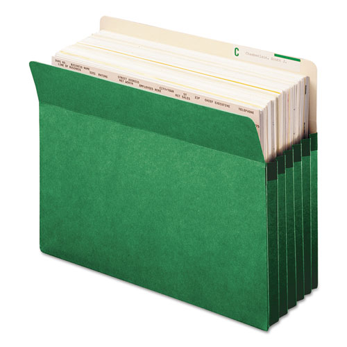 """Colored File Pockets, 5.25"""" Expansion, Letter Size, Green. Picture 3"""