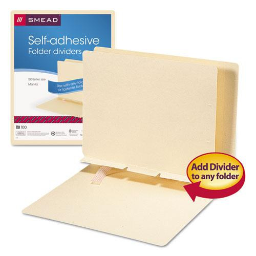 Self-Adhesive Folder Dividers for Top/End Tab Folders, Prepunched for Fasteners, Letter Size, Manila, 100/Box. Picture 2