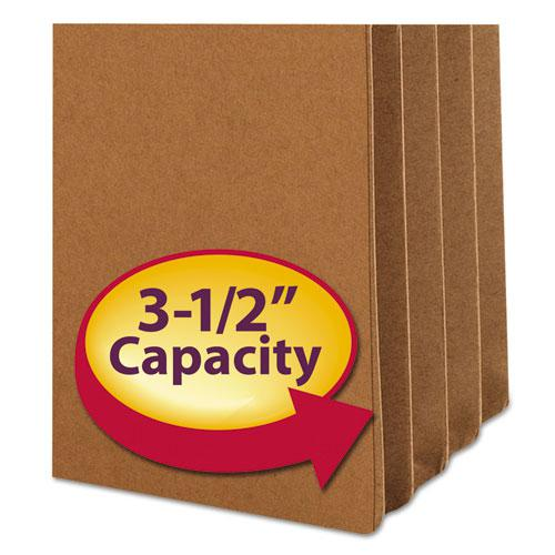 """Redrope Drop Front File Pockets, 3.5"""" Expansion, Letter Size, Redrope, 25/Box"""