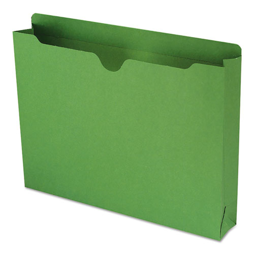 Colored File Jackets with Reinforced Double-Ply Tab, Straight Tab, Letter Size, Green, 50/Box. Picture 1
