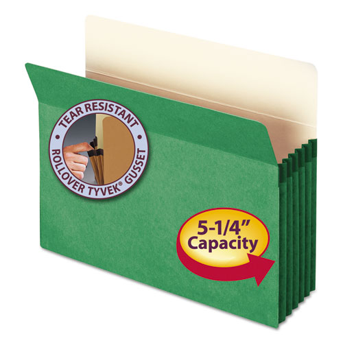 """Colored File Pockets, 5.25"""" Expansion, Letter Size, Green. Picture 1"""