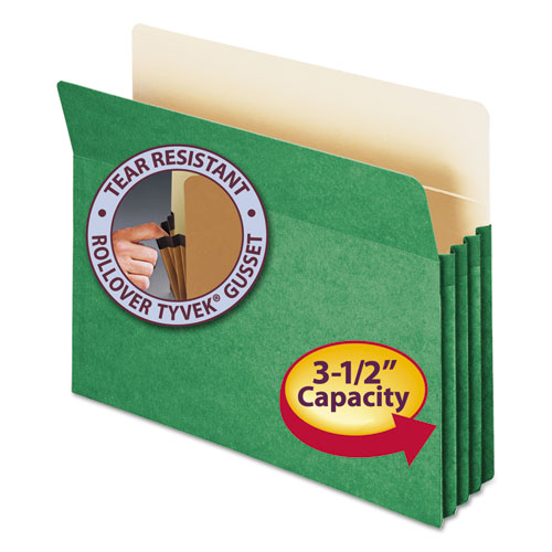 """Colored File Pockets, 3.5"""" Expansion, Letter Size, Green. Picture 1"""