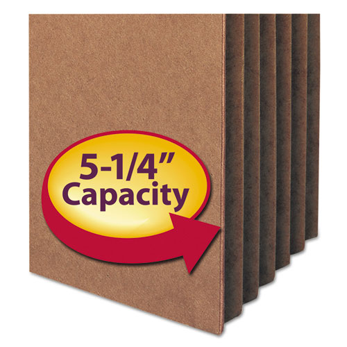 """100% Recycled Top Tab File Pockets, 5.25"""" Expansion, Letter Size, Redrope, 10/Box. Picture 3"""