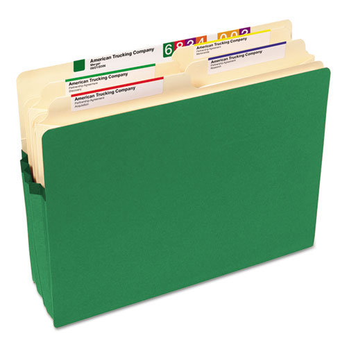 """Colored File Pockets, 3.5"""" Expansion, Letter Size, Green. Picture 4"""