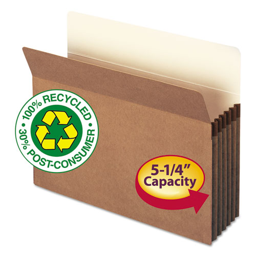 """100% Recycled Top Tab File Pockets, 5.25"""" Expansion, Letter Size, Redrope, 10/Box. Picture 1"""