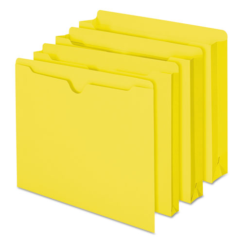 Colored File Jackets with Reinforced Double-Ply Tab, Straight Tab, Letter Size, Yellow, 100/Box. Picture 8
