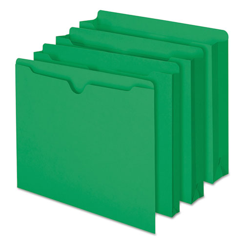 Colored File Jackets with Reinforced Double-Ply Tab, Straight Tab, Letter Size, Green, 100/Box. Picture 5