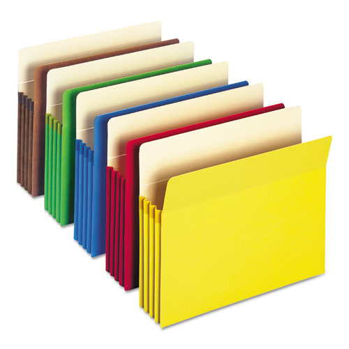 """Colored File Pockets, 3.5"""" Expansion, Letter Size, Assorted, 25/Box. Picture 1"""