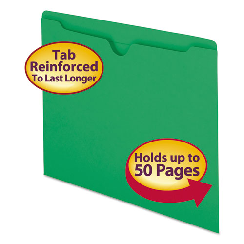 Colored File Jackets with Reinforced Double-Ply Tab, Straight Tab, Letter Size, Green, 100/Box. Picture 1