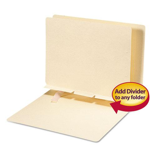 Self-Adhesive Folder Dividers for Top/End Tab Folders, Prepunched for Fasteners, Letter Size, Manila, 100/Box. Picture 1