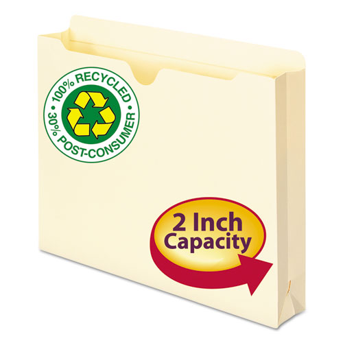 100% Recycled Top Tab File Jackets, Straight Tab, Letter Size, Manila, 50/Box. Picture 1