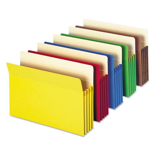 "Colored File Pockets, 3.5"" Expansion, Legal Size, Assorted, 5/Pack. Picture 6"