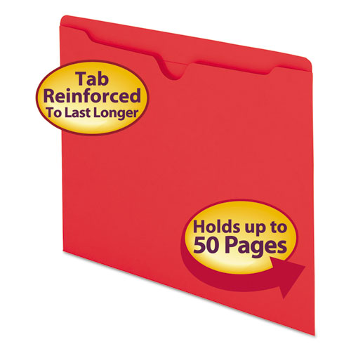 Colored File Jackets with Reinforced Double-Ply Tab, Straight Tab, Letter Size, Red, 100/Box. Picture 1