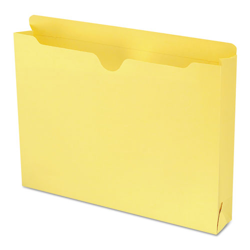 Colored File Jackets with Reinforced Double-Ply Tab, Straight Tab, Letter Size, Yellow, 50/Box. Picture 1