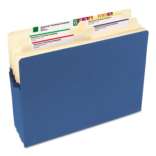 "Colored File Pockets, 3.5"" Expansion, Letter Size, Blue. Picture 4"