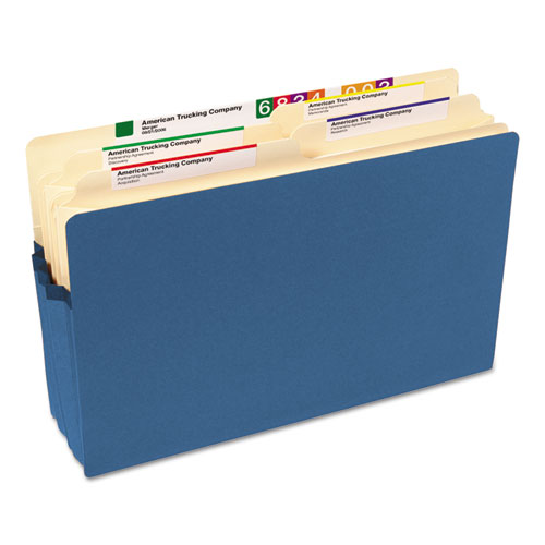 """Colored File Pockets, 3.5"""" Expansion, Legal Size, Blue. Picture 5"""