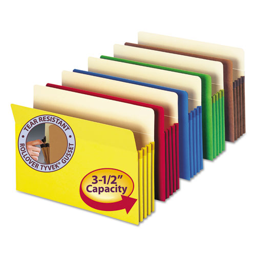"Colored File Pockets, 3.5"" Expansion, Legal Size, Assorted, 5/Pack. Picture 1"